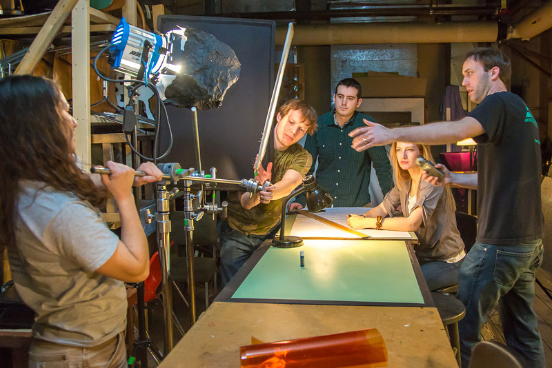 """Guest lecturer Dave Selle, right, instructs students on lighting for a scene during the 2013 Wintermester cinematography class in the UAF Fine Arts complex.  <div class=""""ss-paypal-button"""">Filename: AAR-13-3690-32.jpg</div><div class=""""ss-paypal-button-end"""" style=""""""""></div>"""