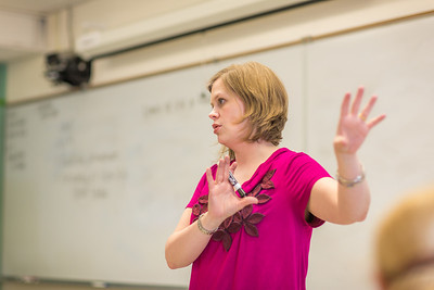 Amy Cooper lectures to her intermediate accounting students in a Duckering Building classroom.  Filename: AAR-14-4112-83.jpg