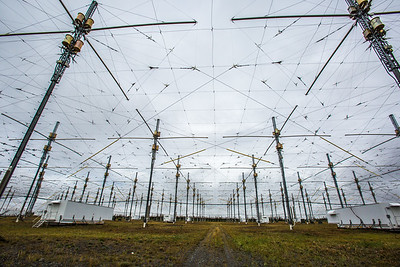 The High Frequency Active Auroral Research Program (HAARP) facility near Gakona comprises a 40-acre grid of towers to conduct research of the ionosphere. The facility was built and operated by the U.S. Air Force until Aug. 11, 2015, when ownership was transferred to UAF's Geophysical Institute.  Filename: AAR-15-4600-097.jpg