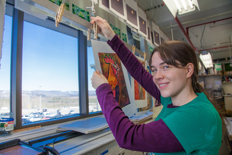 "Senior foreign languages major Lindsey Miller spent lots of time in the printmaking studio in the UAF Fine Arts Complex.  <div class=""ss-paypal-button"">Filename: AAR-12-3353-32.jpg</div><div class=""ss-paypal-button-end"" style=""""></div>"