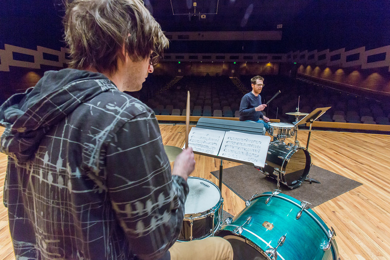 """Percussionist Sean Dowgray works with Professor Morris Palter during class, MUS F606 - Advanced Chamber Music - Percussion, in the Davis Concert Hall.  <div class=""""ss-paypal-button"""">Filename: AAR-14-4094-19.jpg</div><div class=""""ss-paypal-button-end""""></div>"""