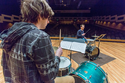 Percussionist Sean Dowgray works with Professor Morris Palter during class, MUS F606 - Advanced Chamber Music - Percussion, in the Davis Concert Hall.  Filename: AAR-14-4094-19.jpg