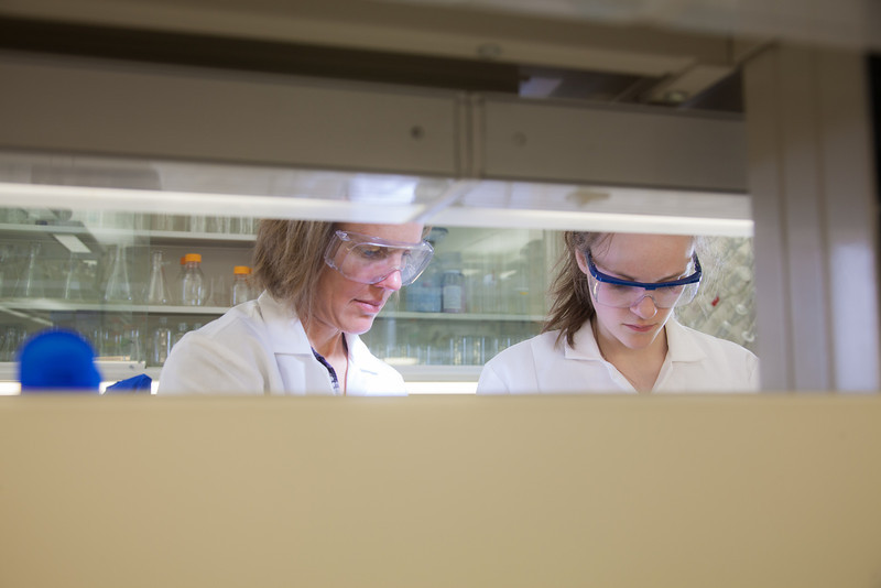 """Julia Covell, right, works with Associate Professor Kristin O'Brien's studying tissue samples of fish from Antarctica in a lab in the Arctic Health Research Building.  <div class=""""ss-paypal-button"""">Filename: AAR-12-3365-089.jpg</div><div class=""""ss-paypal-button-end"""" style=""""""""></div>"""
