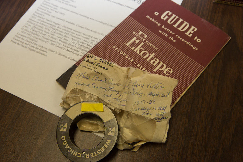 "A handwritten note from the 1950s accompanies a recording device and several recording wires that were recently donated to the Oral History program at UAF's Rasmuson Library. The recorder used technology popular through the country in the 1930s-1960s.  <div class=""ss-paypal-button"">Filename: AAR-16-4783-71.jpg</div><div class=""ss-paypal-button-end""></div>"