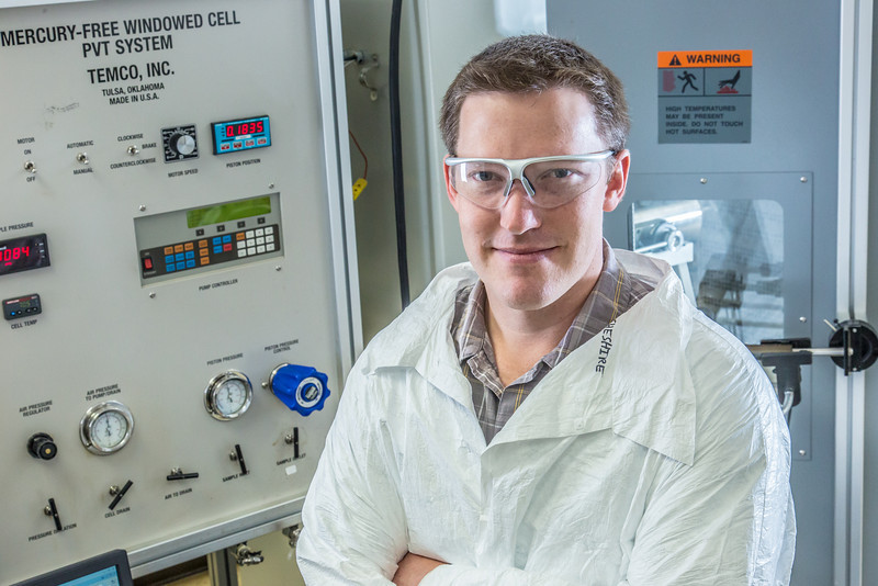 """Undergraduate John Cheshire conducts research in UAF's Petroleum Development Lab in the Duckering Building.  <div class=""""ss-paypal-button"""">Filename: AAR-13-3918-50.jpg</div><div class=""""ss-paypal-button-end"""" style=""""""""></div>"""