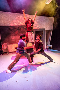 """Cast members Nicole Cowans, center, Sambit Misra, left, and Thomas Petrie rehearse a scene from Theatre UAF's production of """"Speech and Debate.""""  Filename: AAR-13-3755-84.jpg"""