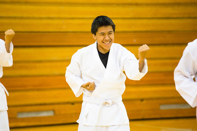 Sporting the traditional-white gi, students of the Rural Alaska Honors Institute learn basic karate skills during their physical education class, June 18, 2012.  Filename: AAR-12-3440-10.jpg