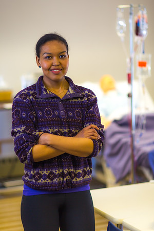 Meranda Okoomealingok, a Native of Savonga on St. Lawrence Island, is studying to be a registered nurse at UAF's Northwest Campus in Nome.  Filename: AAR-16-4865-281.jpg