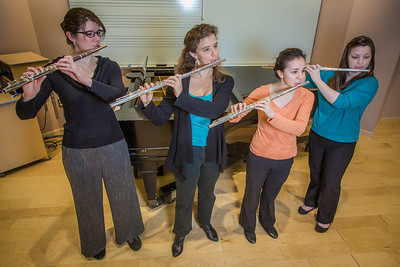 From left to right, Mandi Silveira, Therese Schneider, Meryem Kugzruk and Lilly Gesin are members of a flute quartet at UAF.  Filename: AAR-14-4115-18.jpg
