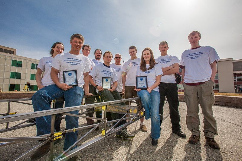"Members of the 2012 UAF Steel Bridge team pose in front of the Duckering Building on the Fairbanks campus.  <div class=""ss-paypal-button"">Filename: AAR-12-3388-27.jpg</div><div class=""ss-paypal-button-end"" style=""""></div>"