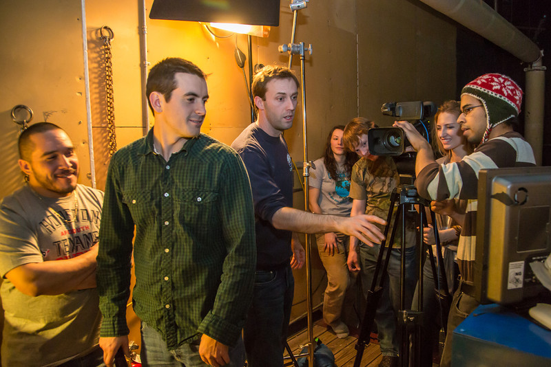 "Guest lecturer Dave Selle, center, directs a scene during the 2013 Wintermester cinematography class in the UAF Fine Arts complex.  <div class=""ss-paypal-button"">Filename: AAR-13-3690-8.jpg</div><div class=""ss-paypal-button-end"" style=""""></div>"