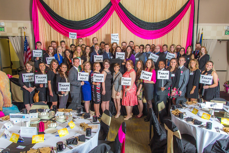 """Students in UAF's School of Management express their feelings in a photo before the annual Business Leader of Year banquet in the Westmark Hotel.  <div class=""""ss-paypal-button"""">Filename: AAR-14-4154-28.jpg</div><div class=""""ss-paypal-button-end""""></div>"""
