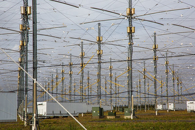 A look at part of the antenae array at the High Frequency Active Auroral Research Program (HAARP) facility in Gakona. The facility was built and operated by the U.S. military before its official transfer to UAF's Geophysical Institute in August 2015.  Filename: AAR-15-4600-013.jpg
