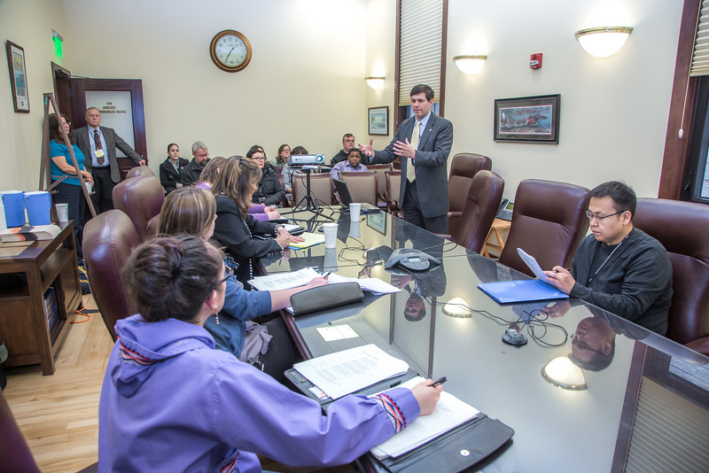 "Professor Mike Davis and his students in RD 492 - Understanding the Legislative Process, meet with Sen. Bill Wielechowski, (D, Anchorage) in a legislative conference room during their week-long seminar in Juneau.  <div class=""ss-paypal-button"">Filename: AAR-13-3714-474.jpg</div><div class=""ss-paypal-button-end"" style=""""></div>"
