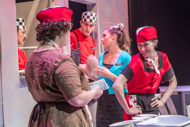 """Cast members rehearse a scene from Theatre UAF's  production of """"Nickel and Dimed"""" in the Salisbury Theatre.  <div class=""""ss-paypal-button"""">Filename: AAR-13-3974-28.jpg</div><div class=""""ss-paypal-button-end"""" style=""""""""></div>"""