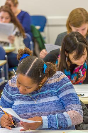 Students in Associate Professor Dani Sheppard's Psychology 335 class, Brain and Behavior, take their final exam Dec. 17 in the Gruening Building.  Filename: AAR-14-4414-137.jpg