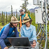 "Associate professor Margaret Darrow, right, reads data from a weather station installed on one of  several frozen debris lobes which have appeared along the Dietrich River valley in the southern Brooks Range. Darrow, along with state geologists Ronald Daanen, left, and Trent Hubbard, are trying to figure out how to slow down or stop the movement of the lobes which threaten the Dalton Highway and the nearby trans-Alaska pipeline.  <div class=""ss-paypal-button"">Filename: AAR-14-4214-472.jpg</div><div class=""ss-paypal-button-end""></div>"