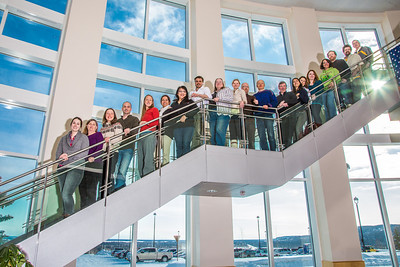 Graduate students in UAF's Resilience and Adaptation Program pose for a photo in the lobby of the Akasofu Building on West Ridge.  Filename: AAR-13-3787-21.jpg