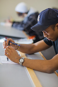 Anthony Rogers completes the assignment in his drafting class in UAF's Community and Technical College.  Filename: AAR-11-3221-94.jpg