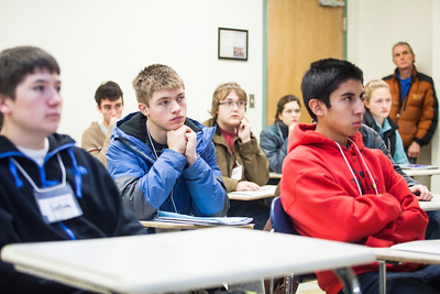 Visiting high school students attend a mock engineering class during Discover UAF's InsideOut program in late Oct. 2012 at the Gruening Building.  Filename: AAR-12-3614-28.jpg