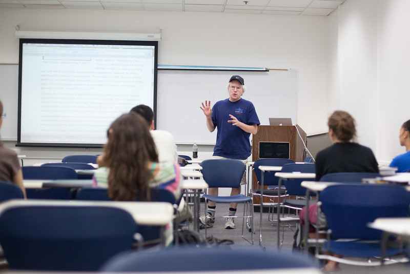 """Professor Terrence Cole lectures on Alaska state history during UAF's summer sessions.  <div class=""""ss-paypal-button"""">Filename: AAR-12-3442-2.jpg</div><div class=""""ss-paypal-button-end"""" style=""""""""></div>"""
