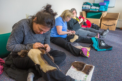 Community members learn how to make authentic beaver hats during an evening class at UAF's Chukchi Campus in Kotzebue.  Filename: AAR-16-4863-083.jpg