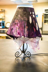 A lamp shade made from a local reindeer hide dries after a community class on treating and making products with the hides at UAF's Northwest Campus in Nome.  Filename: AAR-16-4865-180.jpg