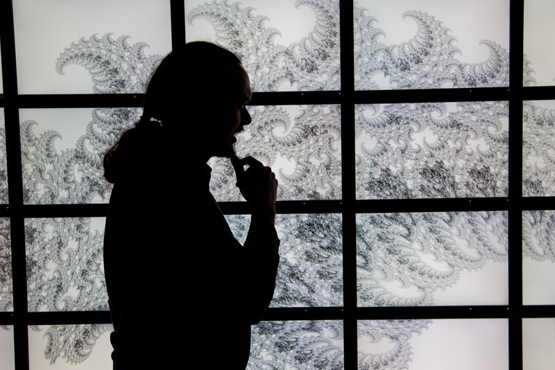 """Assistant Professor Orion Lawlor stands in front of a random fractal design projected on the bioinformatics powerwall in the Chapman Building.  <div class=""""ss-paypal-button"""">Filename: AAR-12-3272-111.jpg</div><div class=""""ss-paypal-button-end"""" style=""""""""></div>"""