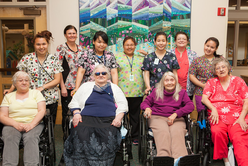 """Nurse Aid Training students from the UAF Northwest Campus and Denali Center residents are photographed together during a two-week clinical practicum at the Denali Center in Fairbanks.  <div class=""""ss-paypal-button"""">Filename: AAR-13-3859-127.jpg</div><div class=""""ss-paypal-button-end"""" style=""""""""></div>"""