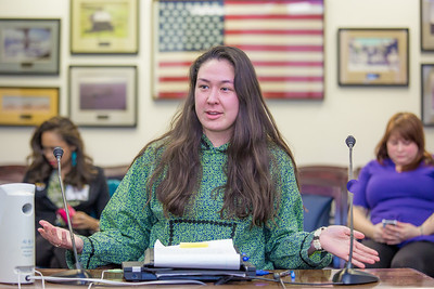 Sarah Walker, a senior in UAF's rural development program, presents testimony before a committee of her peers during a mock legislative hearing as part of a weeklong seminar on understanding the legislative process in Juneau.  Filename: AAR-14-4056-182.jpg