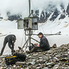 "Joel Bailey, right, a research professional with UAF's Institute of Northern Engineering, downloads data from a weather station above the surface of the Jarvis Glacier in the eastern Alaska Range. At left, Ph.D. student Matvey Debolskiy helps stablize the station's foundation.  <div class=""ss-paypal-button"">Filename: AAR-14-4256-319.jpg</div><div class=""ss-paypal-button-end""></div>"