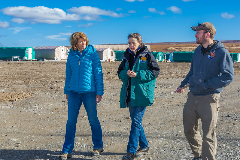 """Donie Bret-Harte, associate science director at UAF's Toolik Field Station, center, and Brett Biebuyck, Toolik's assistant operations supervisor, lead U.S. Senator Lisa Murkowski on a tour of the unique research center, located about 330 miles north of Fairbanks on Alaska's North Slope.  <div class=""""ss-paypal-button"""">Filename: AAR-13-3929-295.jpg</div><div class=""""ss-paypal-button-end""""></div>"""