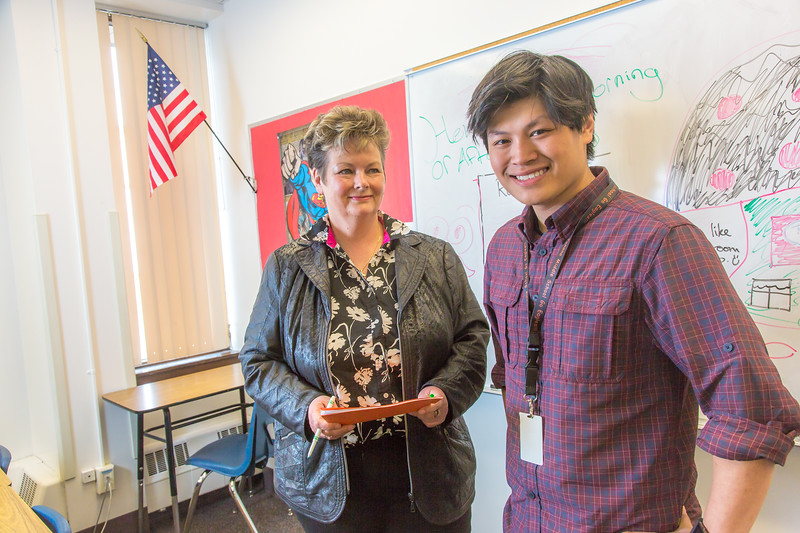 "Associate Professor Ute Kaden meets with education major  Bennett Wong during Bennett's internship at Tanana Middle School during the spring 2015 semester.  <div class=""ss-paypal-button"">Filename: AAR-15-4531-15.jpg</div><div class=""ss-paypal-button-end""></div>"