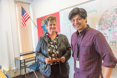 Associate Professor Ute Kaden meets with education major  Bennett Wong during Bennett's internship at Tanana Middle School during the spring 2015 semester.  Filename: AAR-15-4531-15.jpg