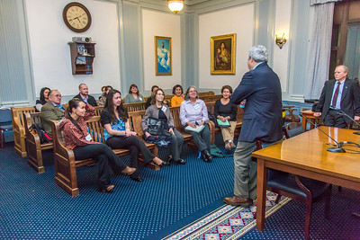 Students from UAF's Alaska Native Studies and Rural Development program meet with Senate Finance Committee Co-Chair Pete Kelly during their weeklong seminar on Understanding the Legislative Process in the state capital of Juneau.  Filename: AAR-14-4053-202.jpg