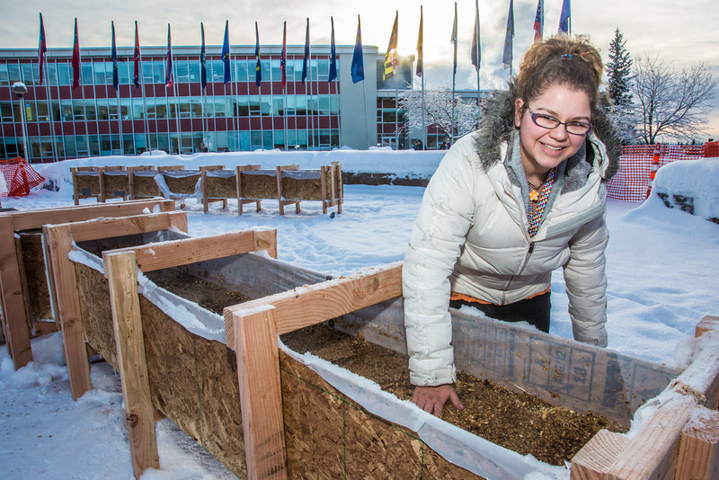 """Civil engineering major Katrina Monta levels out sawdust mixed with water that when frozen, hardens into a substance many times stronger than concrete. Katrina and others are hard at work on this year's ice arch, scheduled for completion Feb. 20.  <div class=""""ss-paypal-button"""">Filename: AAR-13-3718-26.jpg</div><div class=""""ss-paypal-button-end"""" style=""""""""></div>"""