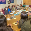 """A group of students from rural Alaska attending a weeklong seminar on Understanding the Legislative Process in Juneau, meets with Susan Bell, commissioner of the Alaska Department of Commerce and Economic Development in a state office building conference room.  <div class=""""ss-paypal-button"""">Filename: AAR-14-4054-41.jpg</div><div class=""""ss-paypal-button-end"""" style=""""""""></div>"""