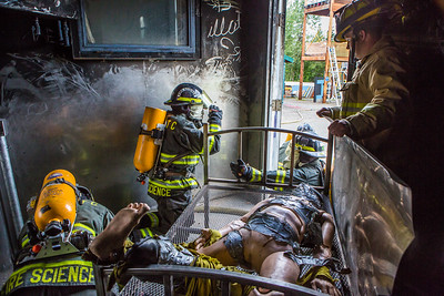 The CTC Summer Fire Academy is an intensive month-long training where students participate in classroom and hands-on learning to prepare them for the International Fire Service Accreditation Congress Firefighter I certificate.  Filename: AAR-16-4937-190.jpg