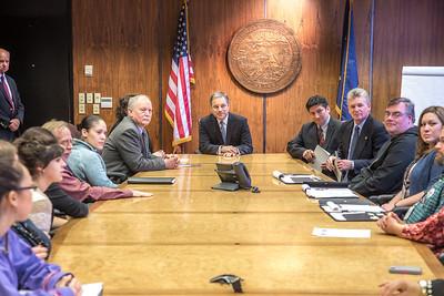 Alaska Governor Sean Parnell and members of his staff meet with Prof. Mike Davis and his students in RD 492 - Understanding the Legislative Process, during their week-long seminar in Juneau.  Filename: AAR-13-3714-531.jpg
