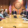 "Alaska Governor Sean Parnell and members of his staff meet with Prof. Mike Davis and his students in RD 492 - Understanding the Legislative Process, during their week-long seminar in Juneau.  <div class=""ss-paypal-button"">Filename: AAR-13-3714-531.jpg</div><div class=""ss-paypal-button-end"" style=""""></div>"
