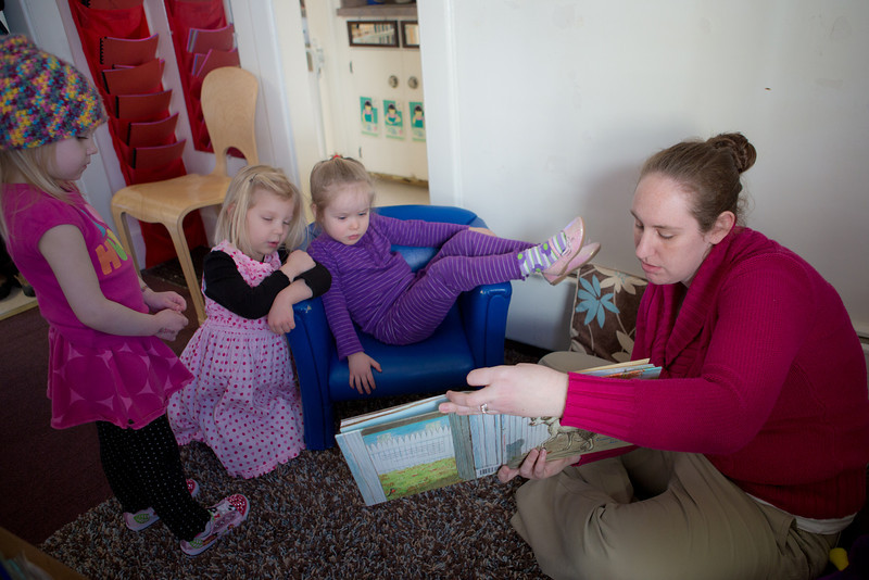 "Heather Pearce works with pre-schoolers at the Bunnell House on the UAF campus as part of her internship for a degree in early childhood development.  <div class=""ss-paypal-button"">Filename: AAR-12-3335-053.jpg</div><div class=""ss-paypal-button-end"" style=""""></div>"