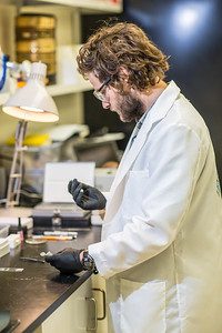 Ph.D. candidate Sean Brennan works in a lab in the Water and Environmental Research Center in the Duckering Building.  Filename: AAR-12-3579-01.jpg