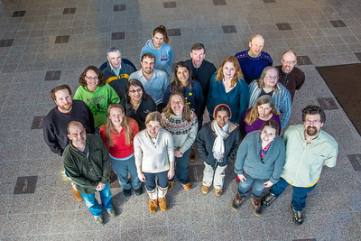 Graduate students in UAF's Resilience and Adaptation Program pose for a photo in the lobby of the Akasofu Building on West Ridge.  Filename: AAR-13-3787-28.jpg