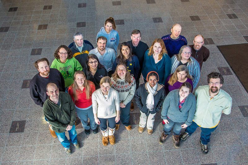 """Graduate students in UAF's Resilience and Adaptation Program pose for a photo in the lobby of the Akasofu Building on West Ridge.  <div class=""""ss-paypal-button"""">Filename: AAR-13-3787-28.jpg</div><div class=""""ss-paypal-button-end"""" style=""""""""></div>"""