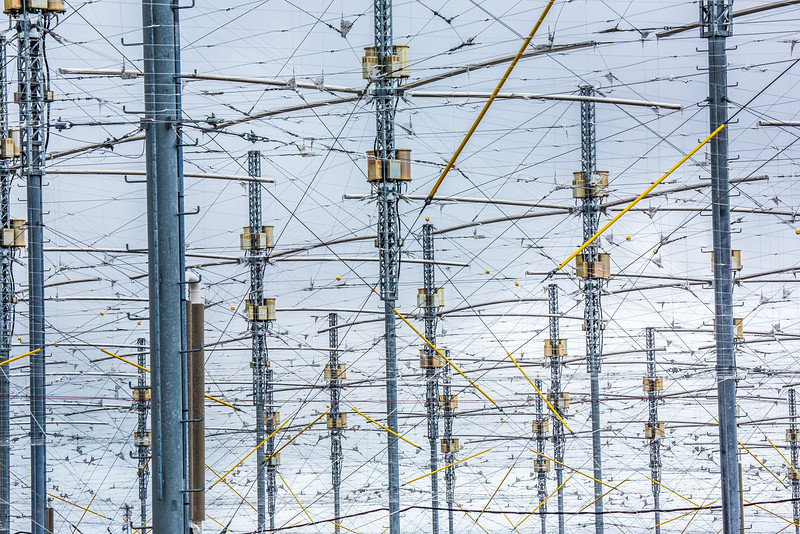 """The High Frequency Active Auroral Research Program (HAARP) facility near Gakona comprises a 40-acre grid of towers to  conduct research of the ionosphere. The facility was built and operated by the U.S. Air Force until Aug. 11, 2015, when ownership was transferred to UAF's Geophysical Institute.  <div class=""""ss-paypal-button"""">Filename: AAR-15-4600-124.jpg</div><div class=""""ss-paypal-button-end""""></div>"""