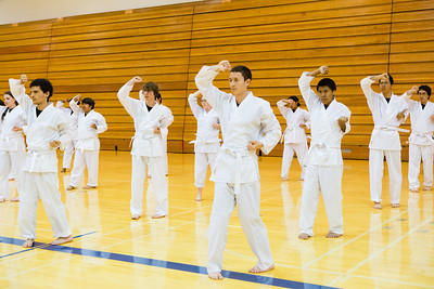 Sporting the traditional-white gi, students of the Rural Alaska Honors Institute learn basic karate skills during their physical education class, June 18, 2012.  Filename: AAR-12-3440-6.jpg