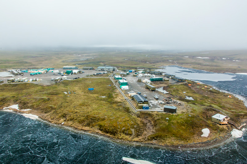 "An aerial view of the Toolik Field Station, about 370 miles north of Fairbanks on Alaska's North Slope . The camp is operated by UAF's Institute of Arctic Biology and hosts scientists from around the world for a variety of arctic-based research efforts.  <div class=""ss-paypal-button"">Filename: AAR-14-4216-243.jpg</div><div class=""ss-paypal-button-end""></div>"