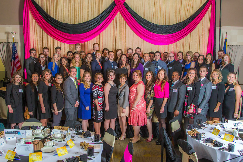 """Students in UAF's School of Management post for a photo before the annual Business Leader of Year banquet in the Westmark Hotel.  <div class=""""ss-paypal-button"""">Filename: AAR-14-4154-19.jpg</div><div class=""""ss-paypal-button-end""""></div>"""