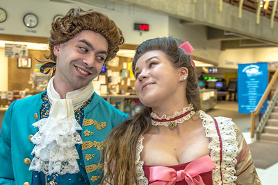 "Marley Horner, left, and Katrina Kuharich, cast members in Theatre UAF's production of ""Tartuffe"" ham it up during a live skit in Wood Center a couple of days before opening night.  Filename: AAR-14-4121-32.jpg"