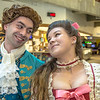 "Marley Horner, left, and Katrina Kuharich, cast members in Theatre UAF's production of ""Tartuffe"" ham it up during a live skit in Wood Center a couple of days before opening night.  <div class=""ss-paypal-button"">Filename: AAR-14-4121-32.jpg</div><div class=""ss-paypal-button-end"" style=""""></div>"